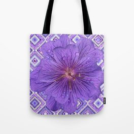 LILAC PURPLE FLORAL & PURPLE GEOMETRIC Tote Bag