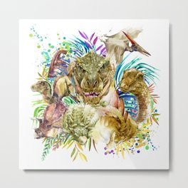 Dinosaur Collage Metal Print