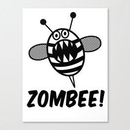 Funny Zombee, Zombie Tee-shirt, Bee T-Shirt Canvas Print