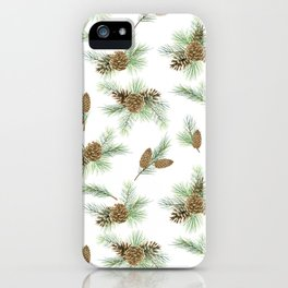 pine branches and cones pattern iPhone Case