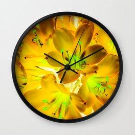 closeup yellow flower with green pollen background Wall Clock