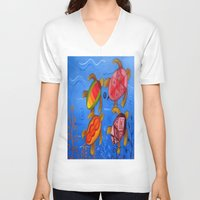 swimming V-neck T-shirts featuring Swimming by Montes Arte Mexicano