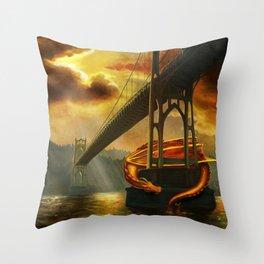 The Dragon of the St Johns Bridge Throw Pillow