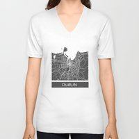 dublin V-neck T-shirts featuring Dublin Map by Map Map Maps