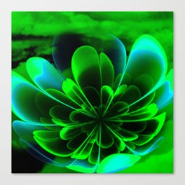 Abstract Green Flower Canvas Print