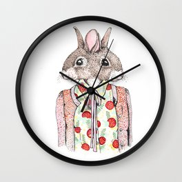 Kathy and Susie - Conjoined Rabbits in a Cardigan Wall Clock