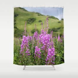 Fireweed on a Mountain Photography Print Shower Curtain