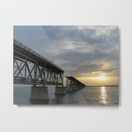 Derelict Bridge at Bahia Honda Key Metal Print