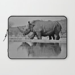 12,000pixel - 500dpi, High Quality Photograph - Waterfront Rhinoceros II - Black and white Laptop Sleeve