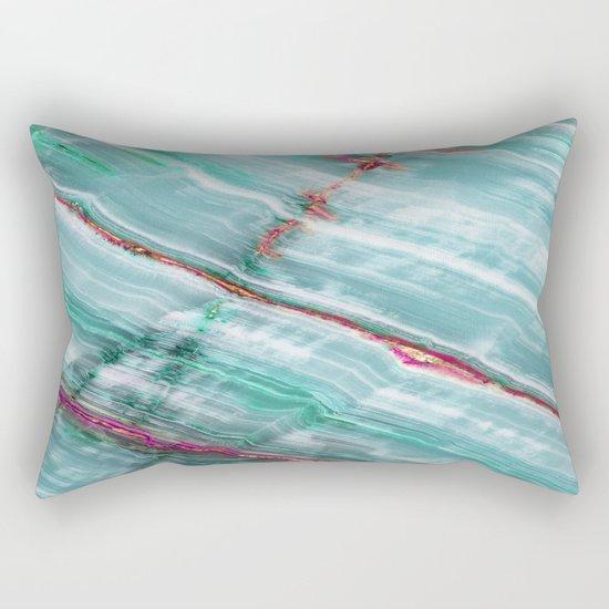 Jade Mint Marble Paint Abstract  Rectangular Pillow