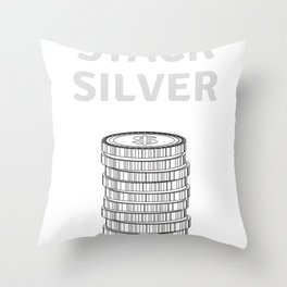 Stack Silver - Silver Stacker Gift Throw Pillow
