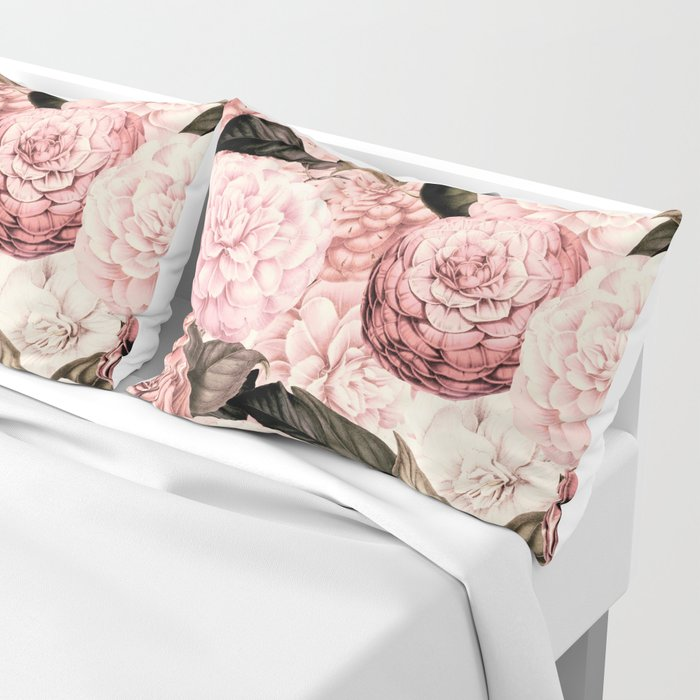 Vintage & Shabby Chic Pink Floral camellia flowers watercolor pattern Pillow Sham