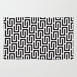 Geometric Pattern #140 (black white) Rug