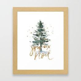 Christmas Tree Watercolors Noel Gold Typography Framed Art Print