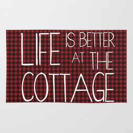 Life is better at the cottage - lumberjack plaid Rug
