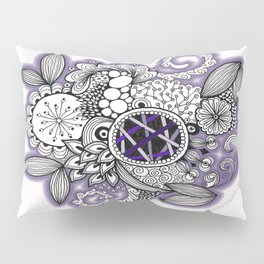 Pretty in Purple Zentangle Design Illustration Pillow Sham