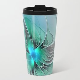 Abstract With Blue 2, Fractal Art Travel Mug