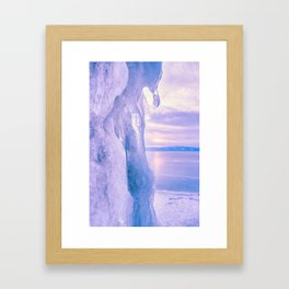 Ice cliff of Lake Baikal Framed Art Print