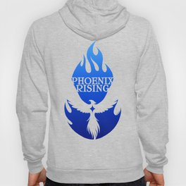 PHOENIX RISING blue with flames and star center Hoody