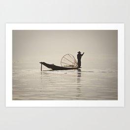 Fisherman at Inle Lake Art Print