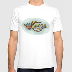 Big Fish Prey White SMALL Mens Fitted Tee