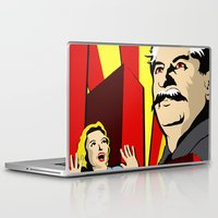 soviet Laptop & iPad Skins featuring Stalin portrait red scare soviet union poster by Sofia Youshi