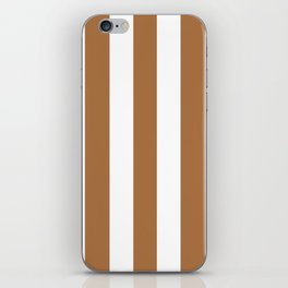 Metallic bronze - solid color - white vertical lines pattern iPhone Skin