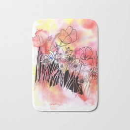 wildflowers in watercolor and ink Bath Mat