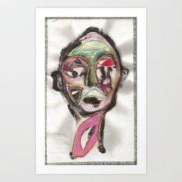 favue face textile painting Art Print
