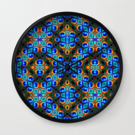 Peacock Feathers -Blue/Gold Wall Clock