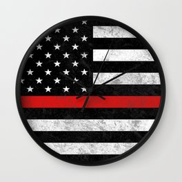 Thin Red Line Flag Wall Clock