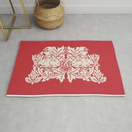 William Morris Style Victorian Christmas Bunnies Rug