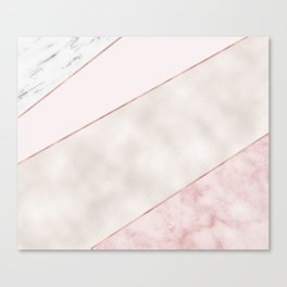 Spliced mixed pink marble and rose gold Canvas Print