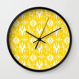 Mid Century Modern Atomic Space Age Pattern Yellow Wall Clock