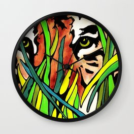 Tiger Eyes Looking Through Tall Grass By annmariescreations Wall Clock