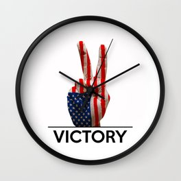 Hand making the V sign united states country flag painted Wall Clock