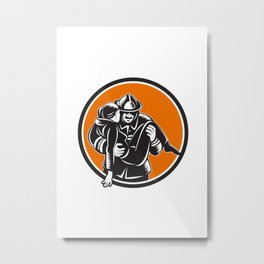 Fireman Firefighter Saving Girl Circle Woodcut Metal Print