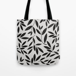Black and White Plant Leaves Pattern Tote Bag