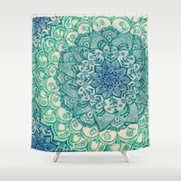 time Shower Curtains featuring Emerald Doodle by micklyn