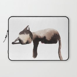 Sleepy Kitten in Watercolor - Brown Cat Sleeping Laptop Sleeve
