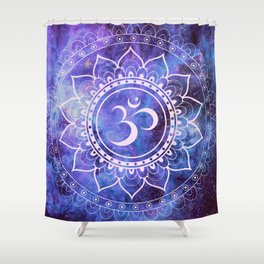 Om Mandala Purple Lavender Blue Galaxy Shower Curtain