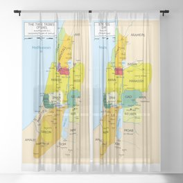 Map of Twelve Tribes of Israel from 1200 to 1050 According to Book of Joshua Sheer Curtain