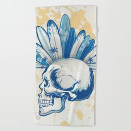 surfer skull Beach Towel