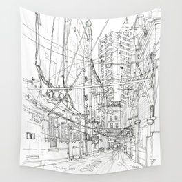 Shanghai. China. Yard full of wires Wall Tapestry