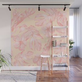 Tropical Dream Palm Leaves Pink and Coral Peach Wall Mural