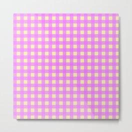 Pink and Yellow Gingham, Buffalo Checks Metal Print