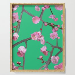 Plum blossom pattern peppermint green Serving Tray