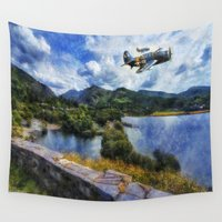 aviation Wall Tapestries featuring Lake Flight 1940's by Ian Mitchell