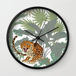 Leopards in the jungle pattern. Wall Clock