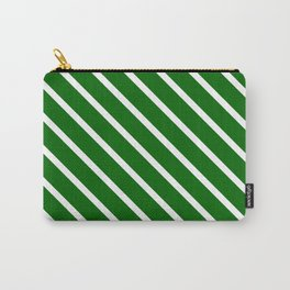 Christmas Green Diagonal Stripes Carry-All Pouch